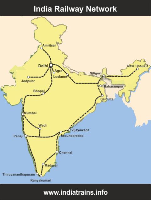 Map of India Railways