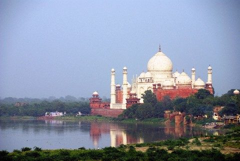 The Taj Mahal is located on the banks the Yamuna River in Agra